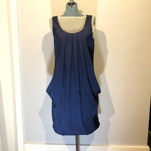 H&M Sleeveless Pleated Party Dress - Navy